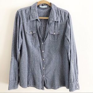 Maurice's chambray polka dot button down shirt.